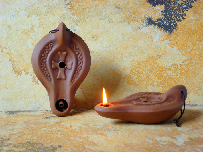 EARLY CHRISTIAN CERAMIC OLIVE OIL LAMPS